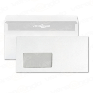 Envelopes DIN long with window, white, self-adhesive