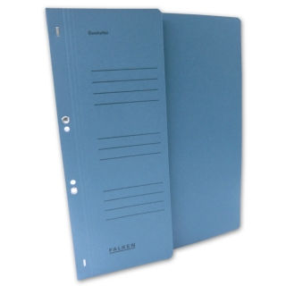 Hole-Punched Folders Falken 80003809, A4, blue on half front cover, made from recycled fibre