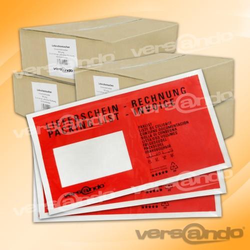 4000 rote lieferscheintaschen din lang begleitpapiertaschen dokumententaschen. Black Bedroom Furniture Sets. Home Design Ideas