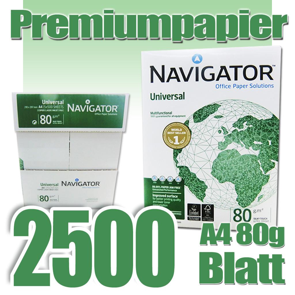2500 blatt a4 80g m kopierpapier marke navigator universal papier druckerpapier ebay. Black Bedroom Furniture Sets. Home Design Ideas