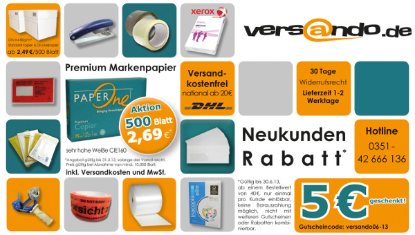 Neukundengutschein www.versando.de 5 Euro